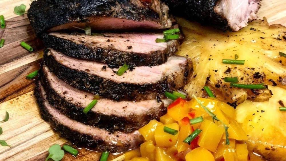 Grilled Jamaican Jerk Wild Boar with Mango Chutney